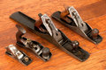 Antique tool arrangement, four planes Royalty Free Stock Images