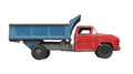 Antique toy dump truck isolated red and blue metal on white Stock Photography