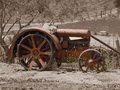 Antique tractor on Sepia Royalty Free Stock Photo