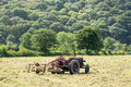 Antique tractor and threshing machine Royalty Free Stock Photo