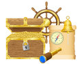 Antique treasure chest vector illustration Royalty Free Stock Images