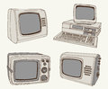Antique tv and computer set of vector sketches Royalty Free Stock Images