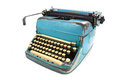 Antique typewriter against a crisp Royalty Free Stock Photo