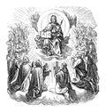Antiguo antiguo dibujo o de cristo en trono como rey en refugio por