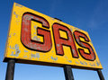 An antique, vintage gas sign on route 66 Royalty Free Stock Images
