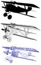 Antique Vintage Military Biplane Illustration Vector Royalty Free Stock Photo