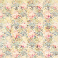 Antique vintage roses and fans patterned background in pink and green spring colors Royalty Free Stock Photo