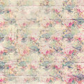 Antique vintage roses patterned background in pink and green spring colors Royalty Free Stock Photo