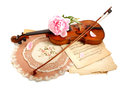 Antique violin, notes  and peon Royalty Free Stock Image