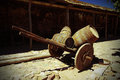 Antique wagon with barrels in the castle castelo de castro marim in portugal Stock Photo