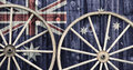 Antique Wagon Wheels with Australia flag Royalty Free Stock Photo