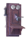 Antique wall telephone isolated. Royalty Free Stock Photo
