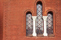 An antique window in church Royalty Free Stock Photo