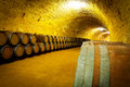 Antique wine cellar with wooden barrels medieval Royalty Free Stock Photography