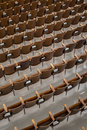 Antique wood auditorium seats angle view from above left Royalty Free Stock Photos