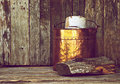 Antique wood bucket on wood. Royalty Free Stock Images
