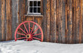 Antique Wood Old Red Wagon Wheel Snow Royalty Free Stock Photo