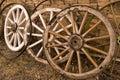 Antique Wood Wagon Wheels. Royalty Free Stock Photo