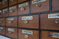 Antique wooden cabinet with drawers Royalty Free Stock Photo