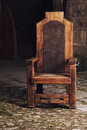 Antique wooden chair in castle Royalty Free Stock Photo