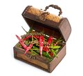 Antique wooden chest and spices Royalty Free Stock Photo