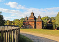 Antique wooden church and fence Stock Photography