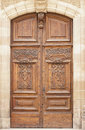 Antique wooden door in barcelona catalonia spain Stock Photo