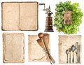 Antique wooden kitchen utensils, old cookbook, used paper and he Royalty Free Stock Photo