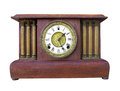 Antique wooden mantle clock isolated natural wood unpainted with pillars on white Royalty Free Stock Photos