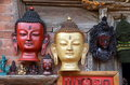 Antique wooden masks of Buddha Royalty Free Stock Photo