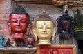 Antique wooden masks of Buddha Royalty Free Stock Photo