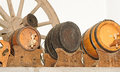 Antique wooden small draught beer keg wagon wheel and Stock Images