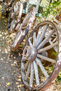 Antique Wooden Wagon wheels in New Mexico Royalty Free Stock Photo