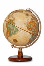 Antique world globe isolated clipping path. Royalty Free Stock Photo