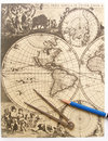 Antique world map, compass Stock Images