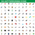 100 antiterrorism icons set, cartoon style