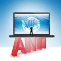 Antivirus illustration laptop words anti virus Royalty Free Stock Images