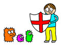 Antivirus kid illustration of cartoon style with a shield for germs isolated on white Stock Photos