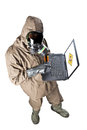 Antivirus needed a man wearing an nbc suite nuclear biological chemical Royalty Free Stock Photo