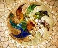 Antoni Gaudi Ceramic Mosaic Design Guell Park Barcelona Cataloni Royalty Free Stock Photo