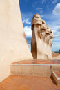 Antoni Gaudi's work at the roof of Casa Mila Stock Photos