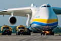 Antonov mrya fueling gostomel ukraine september by two heavy vehicle fuel tankers Royalty Free Stock Photo