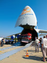 An antonov volga dnepr unloading front ramp down nose door open at international aviation space salon in moscow maks august russia Royalty Free Stock Photography