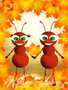 Ants in autumn illustration of with leaf Royalty Free Stock Photo