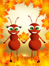 Ants in autumn illustration of with leaf Stock Image
