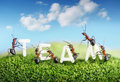 Ants constructing word team with letters teamwork concept Royalty Free Stock Photography