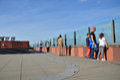 Antwerp, Belgium - May 10, 2015: People visit rooftop of Museum aan de Stroom in Antwerp Royalty Free Stock Photo