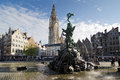 Antwerp belgium october the grand place with the statue of brabo throwing the giant s hand into the scheldt river and the Stock Photo