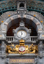 Antwerp central clock on railway station Royalty Free Stock Images