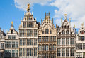 Antwerp guild houses guildhouses at grote markt in belgium Royalty Free Stock Images